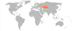 Map indicating locations of Georgia and Kazakhstan