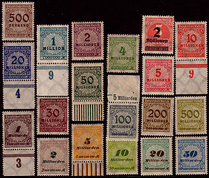 Postage stamps of Weimar Germany, hyperinflati...