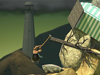 Getting Over It with Bennett Foddy - The player's avatar ascends a mountain using only a hammer