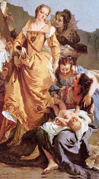 Bithiah - Bithiah depicted in yellow. The Finding of Moses, oil on canvas, Giovanni Battista Tiepolo, 1740, National Gallery of Scotland, Edinburgh.