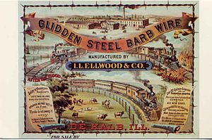 Isaac L. Ellwood - An advertising poster c. 1880s for Ellwood and Glidden's manufacturing firm.