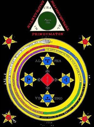 Goetia - Aleister Crowley's variant of the circle and triangle, used in the evocation of the seventy-two spirits of the Ars Goetia.
