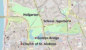 Golden Bridge (Germany) - The Golden Bridge within the Hofgarten and the buildings at the end of the former sightline