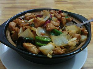 Kung Pao chicken - TheAnhui version of Kung Lao chicken, served in an iron pot