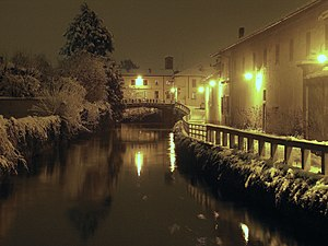 Gorgonzola, Milan - Night view of the Naviglio Martesana canal in Gorgonzola.