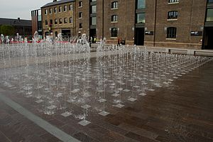 Granary Square - Granary Square fountain in 2012.