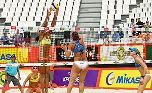 Kerri Walsh Jennings - Walsh (right) at Grand Slam Moscow, 2012