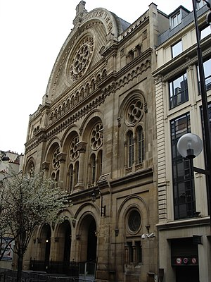 Grand Synagogue of Paris - Façade of the Grand synagogue, rue de la Victoire
