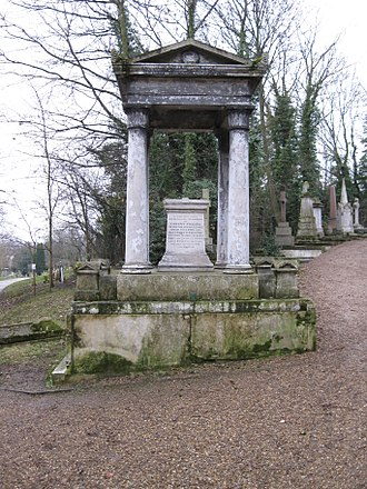 Vincent Figgins - Grave of Vincent Figgins, showing the side also commemorating his son Vincent and his wife Rosanna.
