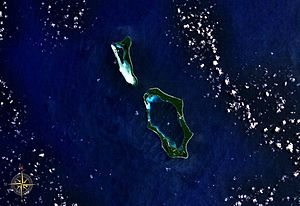 Nissan Island - Green Islands seen from space. Oval-shaped Nissan Island is clearly visible in the center.