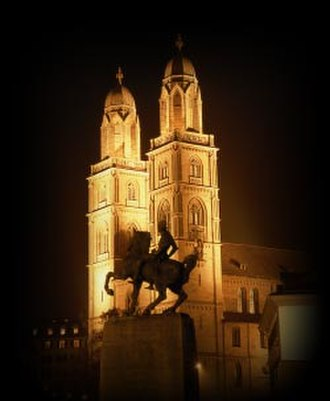 Hans Waldmann (mayor) - The Grossmünster with the 1937 equestrian monument to Hans Waldmann.