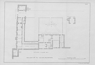 College of All Saints, Maidstone - Plan of the College buildings in 1845