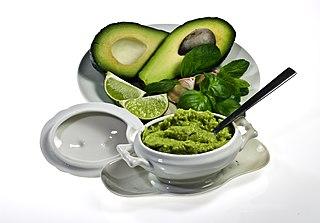 Guacamole Mexican avocado-based dip, spread, or salad