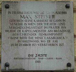 GuentherZ 2007-04-07 0122 Wien02 Praterstrasse72 Gedenktafel Max Steiner.jpg