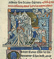 Guinevere beseiged in tower - La Mort le Roi Artus (c.1316), f.81v - BL Add MS 10294.jpg