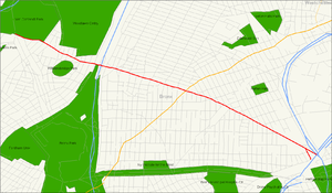 Map of East Bronx with Gun Hill Road in red