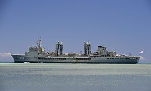 HMAS Success (OR 304) leaves Pearl Harbor in July 2014