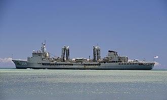HMAS Success (OR 304) - HMAS Success (OR 304) leaves Pearl Harbor in July 2014