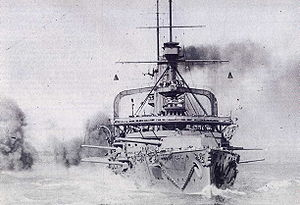 East Indies Station - HMS ''Swiftsure'' at gunnery practice on the East Indies Station in the summer of 1913