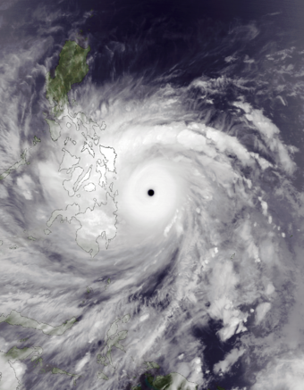 Typhoon Haiyan, locally known as Super Typhoon Yolanda, is one of the strongest typhoons that hit the Philippines. Haiyan Nov 7 2013 1345Z.png