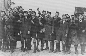 Hale School - Hale School students at a football match 1929