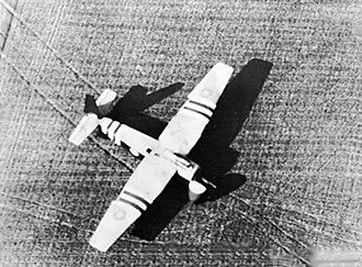 General Aircraft Hamilcar - An aerial view of a Hamilcar on the ground at Arnhem during Operation Market Garden – the glider has landed a vehicle, the tracks of which can be seen leaving the aircraft in front of the open nose door