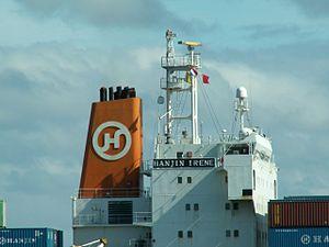Hanjin Irene p5 approaching Port of Rotterdam, Holland 10-Aug-2005.jpg