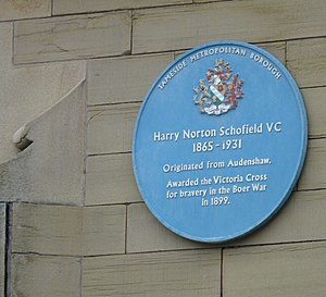 Harry Norton Schofield -  Blue plaque at Ryecroft Hall, Audenshaw