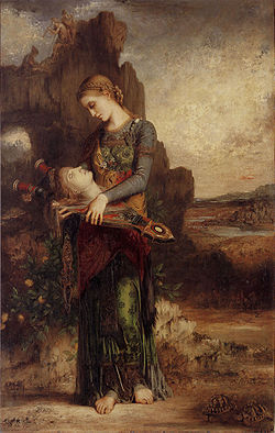 Thracian Girl Carrying the Head of Orpheus on His Lyre, Gustave Moreau (1865)