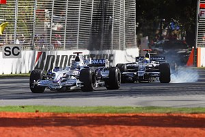 2008 Australian Grand Prix - Nick Heidfeld finished second followed by Nico Rosberg in third. The two are here seen during one of the Safety Car periods.