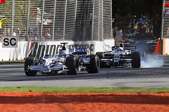 Australian Grand Prix - Nick Heidfeld and Nico Rosberg at Corner 6 of the Albert Park Circuit, Melbourne