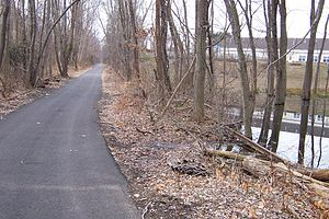 Henry Hudson Trail - Along the southernmost segment of the trail, in Marlboro Township. Abandoned rails can be seen on both sides.