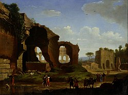 Herman van Swanevelt - A Roman View of the Ruins of the Temple of Venus and Rome with the Colosseum and the Arch of Constan... - Google Art Project.jpg