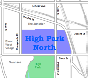High Park North - Image: High Park North map