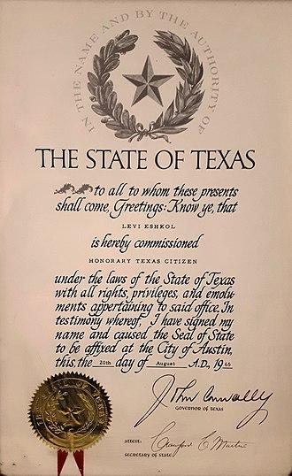 Honorary citizenship - Honorary Texas Citizen certificate issued to Israeli Prime Minister Levi Eshkol.