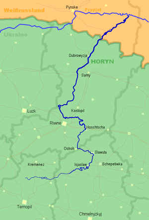 Horyn River - A map shown with the Horyn River flowing through Ukraine and Belarus.