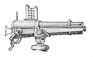 "Battle of Tamsui - The Hotchkiss rapid fire 37 mm multi-barrelled ""canon-revolver"", manufactured from 1879"