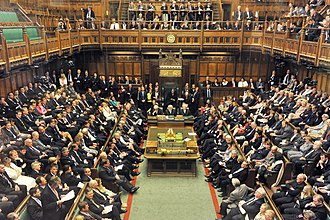Parliament - The facing benches of the House of Commons of the United Kingdom are said to contribute to an adversarial style of debate.