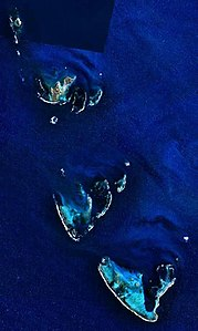 NASA-Satellitenbild des Houtman-Abrolhos-Archipel