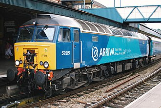 British Rail Class 57 - Arriva Trains Wales liveried 57315 hauling the Premier Service at Newport station in June 2009