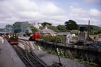 Hughes 0-4-2ST 323 of 1878 TR No. 3 & Kerr Stuart 0-4-2ST 4047 of 1921 TR No. 4, Talyllyn Railway, Tywyn Wharf 4.8.1994 Scans960 (10759383394).jpg
