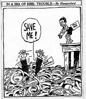Will H. Hays - 1922 editorial cartoon by Cy Hungerford illustrating the perception that Hays was coming to rescue the movie industry.
