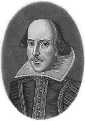 William Shakespeare, portrait from the first folio edition by Martin Droeshout