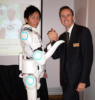 Powered exoskeleton - Steve Jurvetson with a Hybrid Assistive Limb powered exoskeleton suit, commercially available in Japan