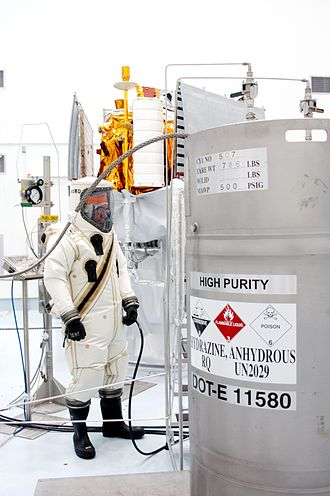 Hypergolic propellant - The hypergolic fuel hydrazine being loaded onto the MESSENGER space probe. The attendant is wearing a full safety suit due to the hazardous materials.