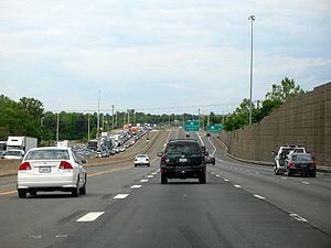 Interstate 66 - Rush hour traffic on I-66 westbound in Fairfax County