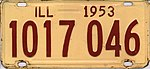Illinois 1953 license plate - Number 1017 046.jpg