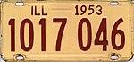 Illinois 1953 license plate - Number 1017 046.jpg