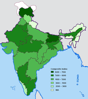 Economic development in India - Image: Index of Corruption by Indian states in 2005
