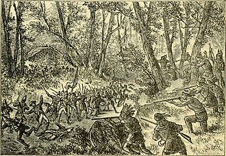 British forces under fire from the French and Indian forces at Monongahela, when the Braddock expedition failed to take Fort Duquesne. Indians ambush British at Battle of the Monongahela.jpg